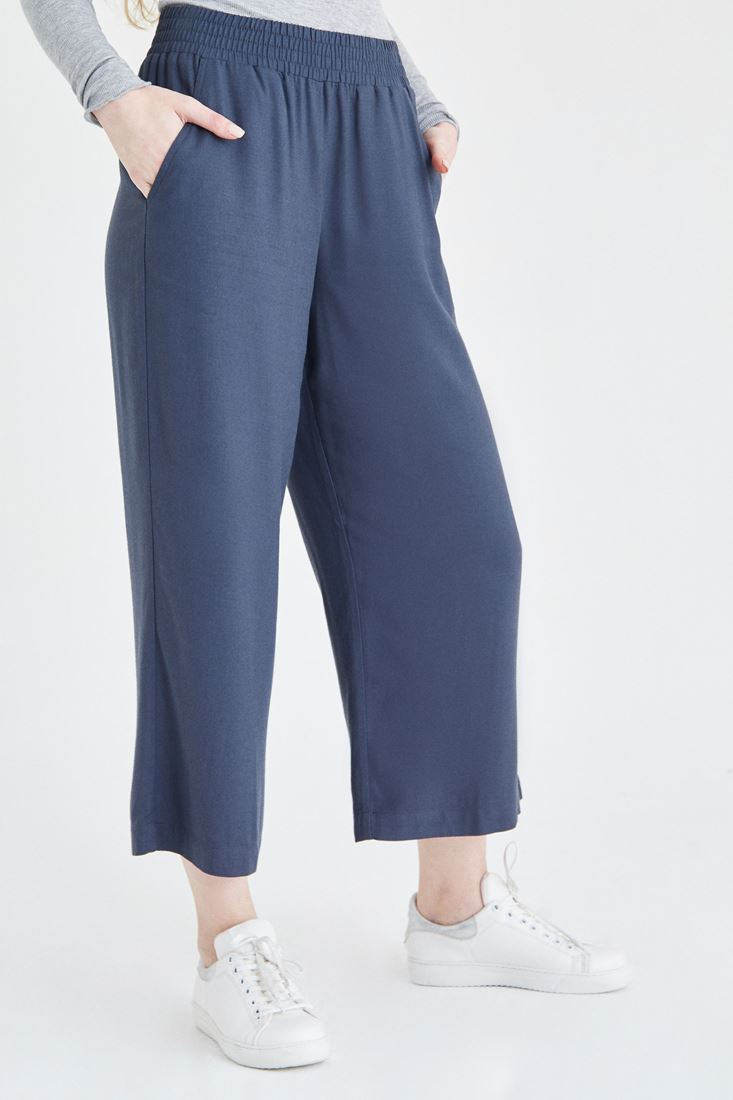 Bayan Gri Beli Lastikli Bol Pantolon