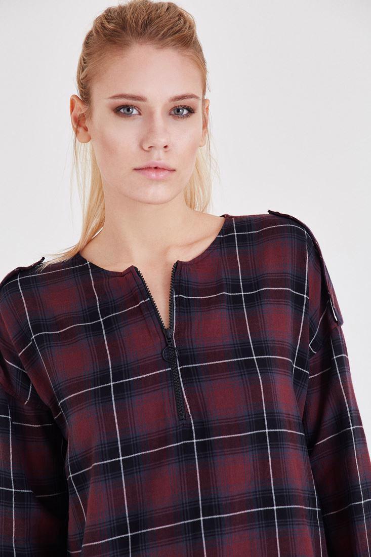 Women Bordeaux Checkered Detail Blouse