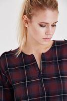 Bayan Bordo Kareli Yırtmaç Detaylı Bluz