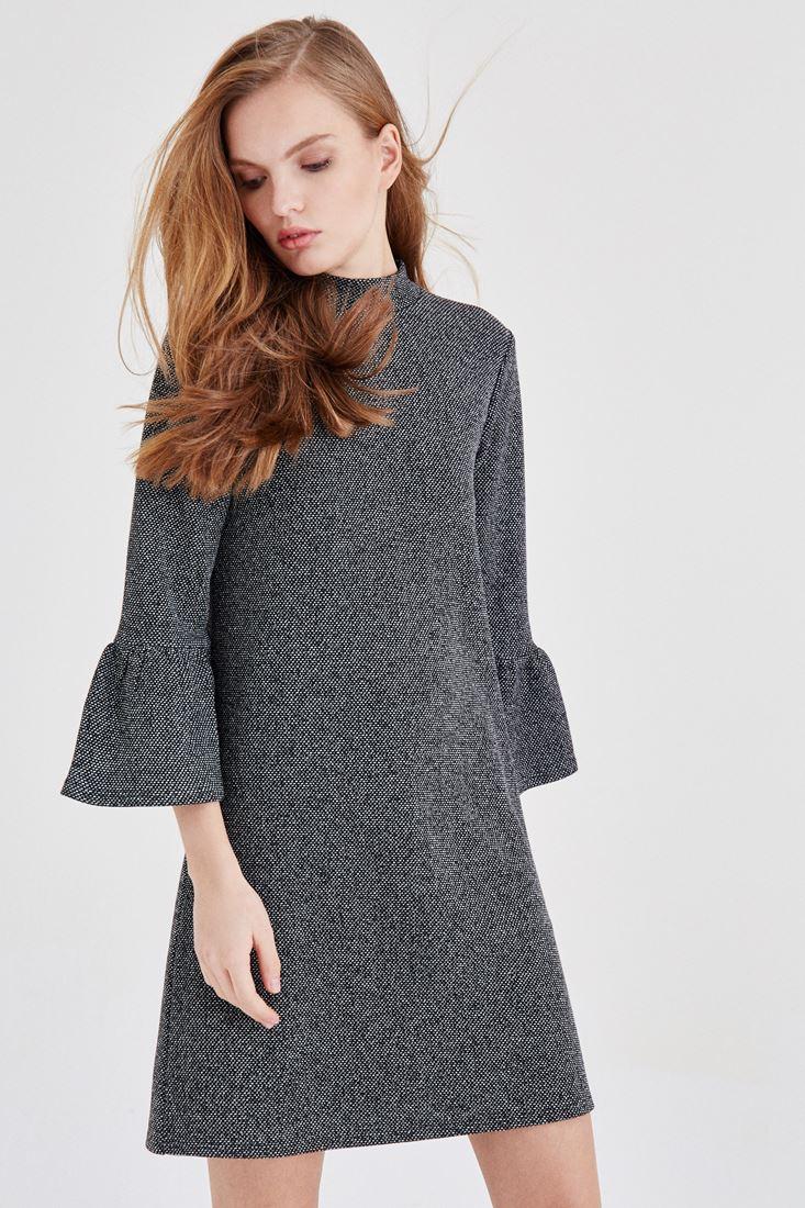 Bayan Siyah Kolları Fırfır Detaylı Elbise