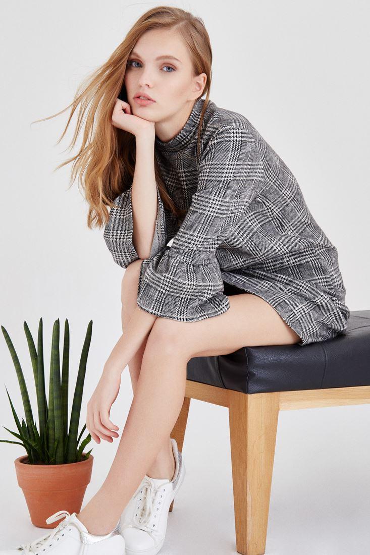 Bayan Çok Renkli Kareli Elbise