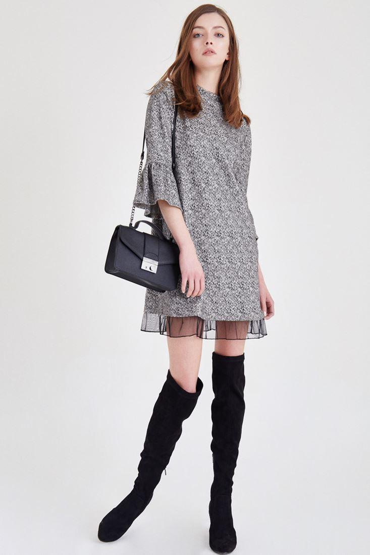 Bayan Gri Kolları Volanlı Elbise