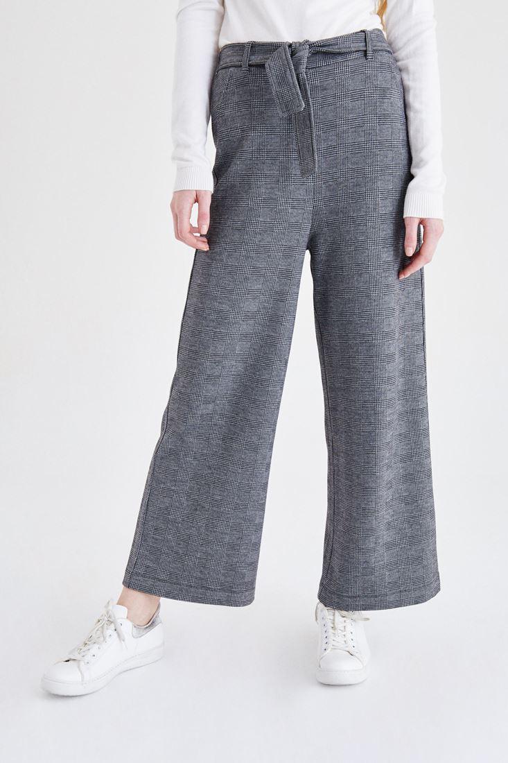 Bayan Çok Renkli Kareli Bol Paça Pantolon