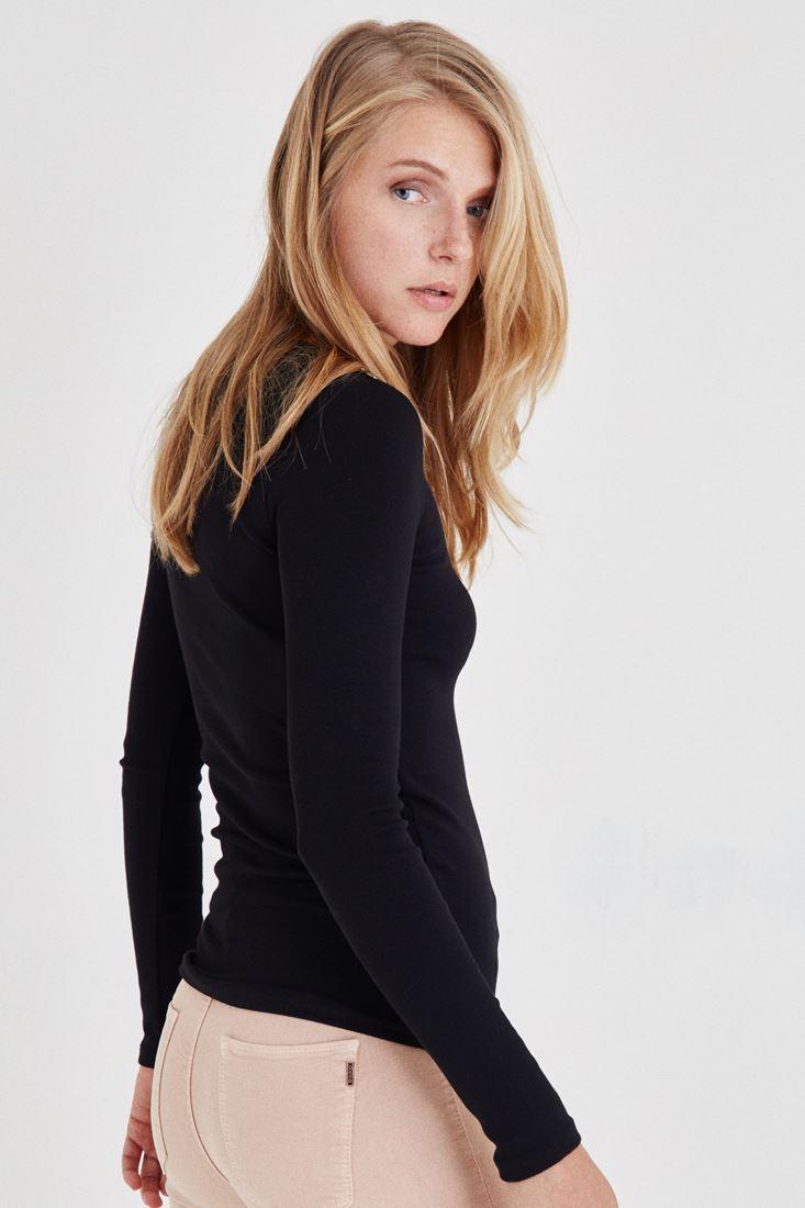Bayan Siyah Düğme Detaylı Bluz