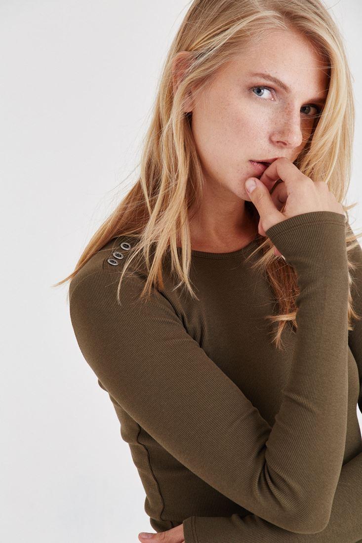 Bayan Yeşil Düğme Detaylı Bluz