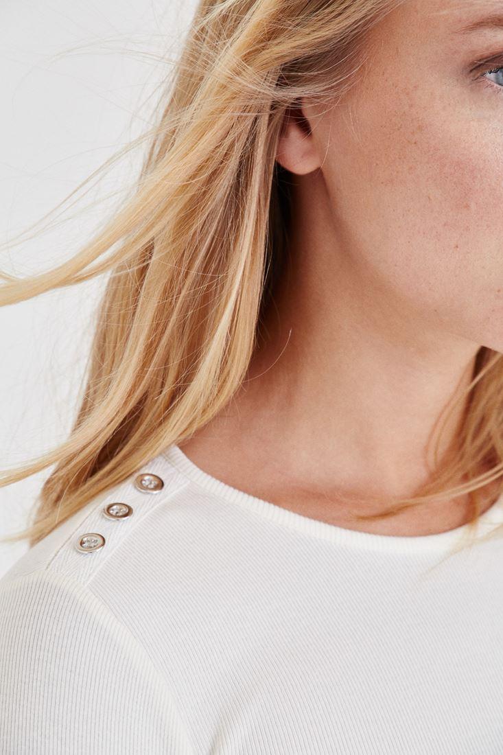 Bayan Krem Düğme Detaylı Bluz