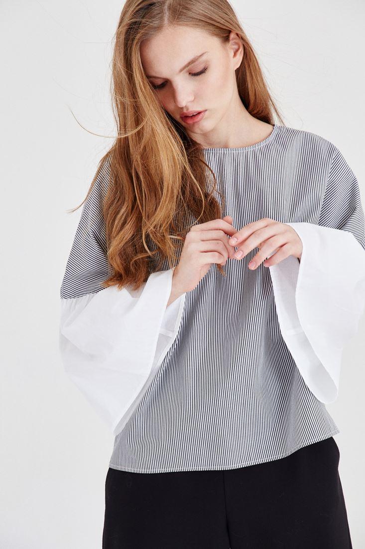 Bayan Çok Renkli Çizgili Bluz