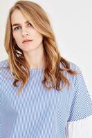 Bayan Lacivert Çizgili Bluz