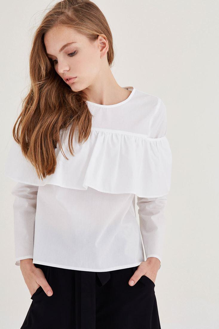 Bayan Beyaz Fırfır Detaylı Pamuk Bluz