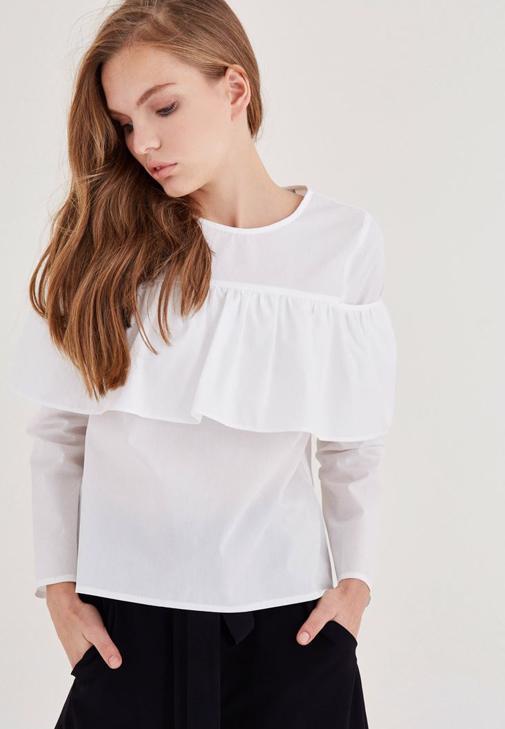 Beyaz Fırfır Detaylı Pamuk Bluz