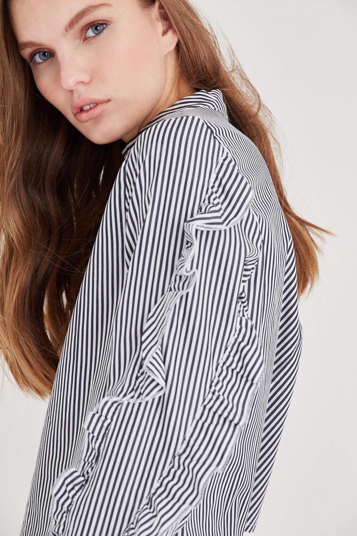 Bayan Çok Renkli Fırfır Detaylı Çizgili Bluz