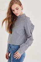 Bayan Çok Renkli Fırfır Detaylı Bluz