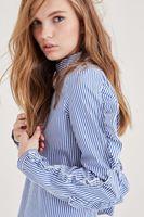 Bayan Lacivert Fırfır Detaylı Çizgili Bluz