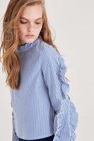 Bayan Lacivert Fırfır Detaylı Bluz