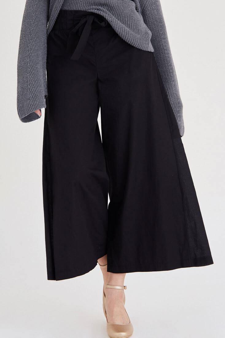 Siyah İspanyol Paça Bol Pantolon