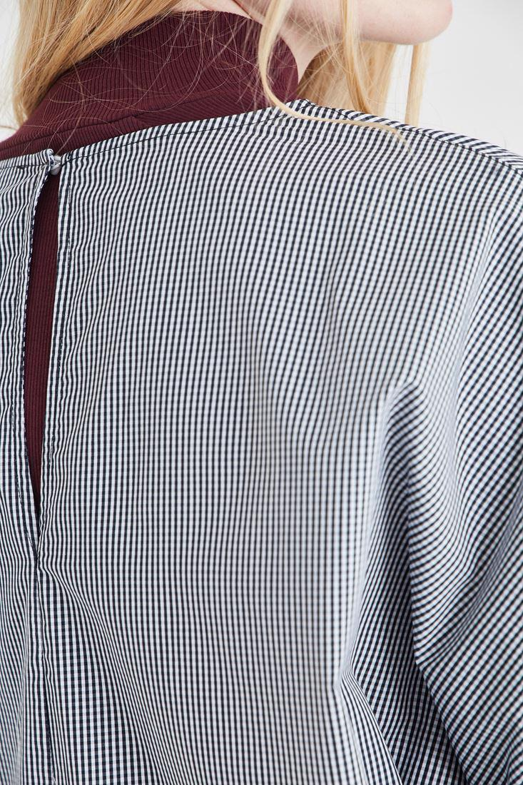 Women Mixed Blouse With Houndstooth Detailed