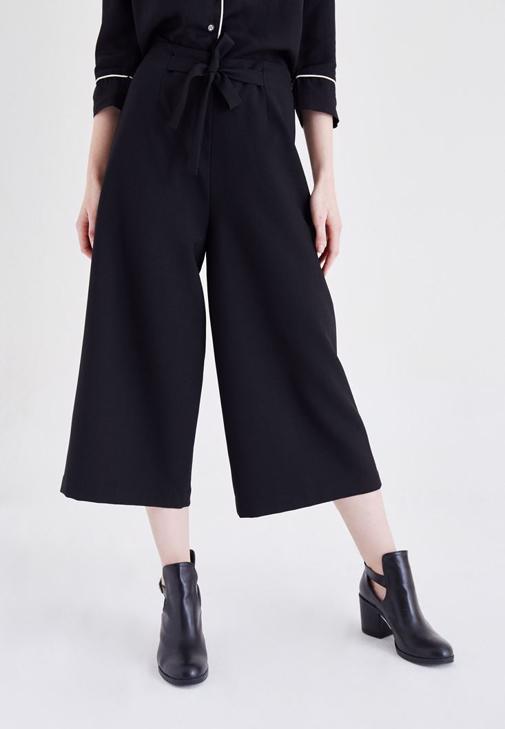 Siyah Yüksek Bel Bol Pantolon