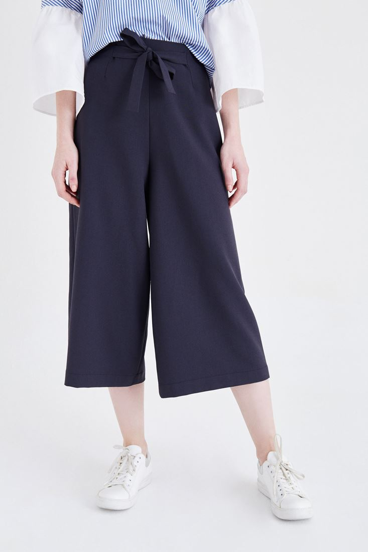 Navy High Rise Culotte Pants