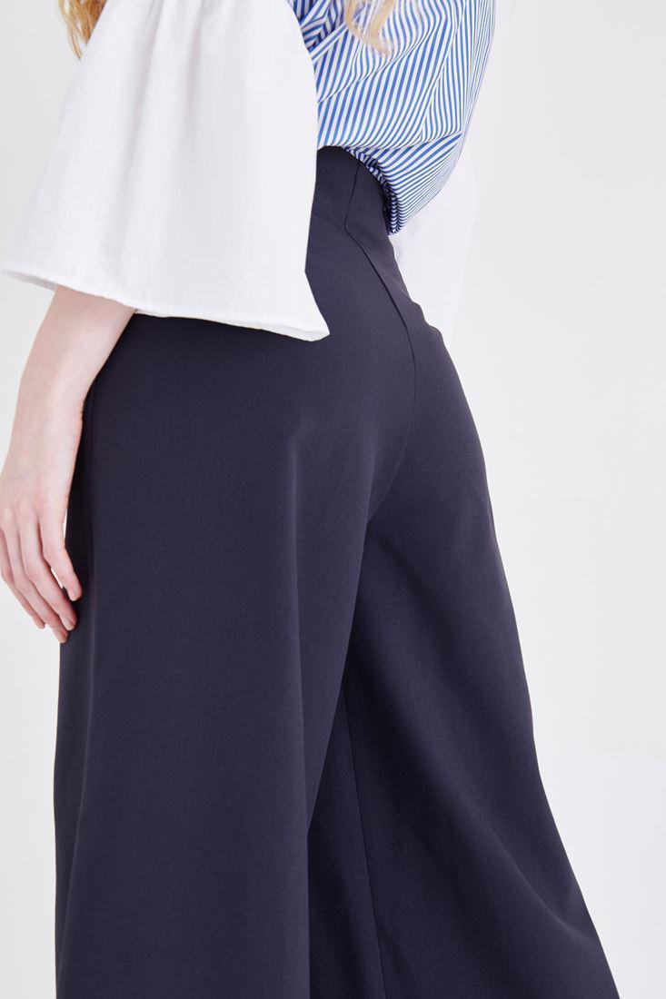 Bayan Lacivert Yüksek Bel Bol Pantolon