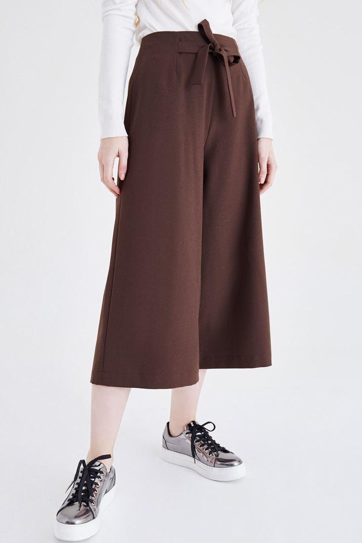 Bayan Kahverengi Yüksek Bel Bol Pantolon