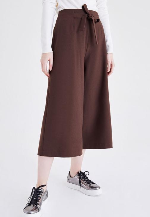 Kahverengi Yüksek Bel Bol Pantolon