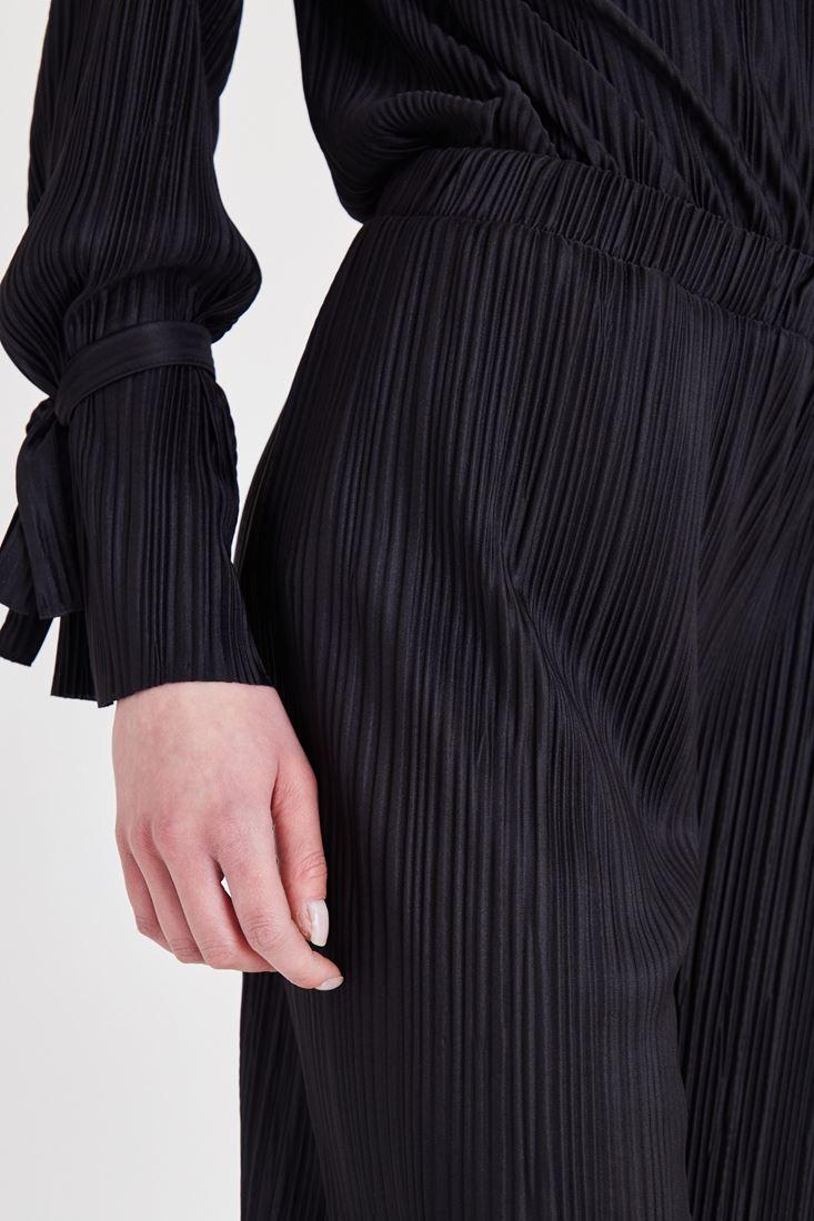 Bayan Siyah Pileli Bol Pantolon