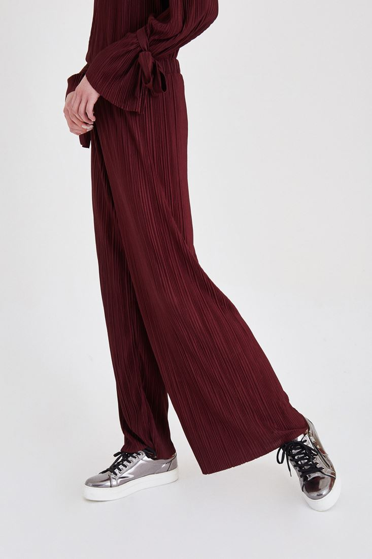 Bayan Bordo Pileli Bol Pantolon