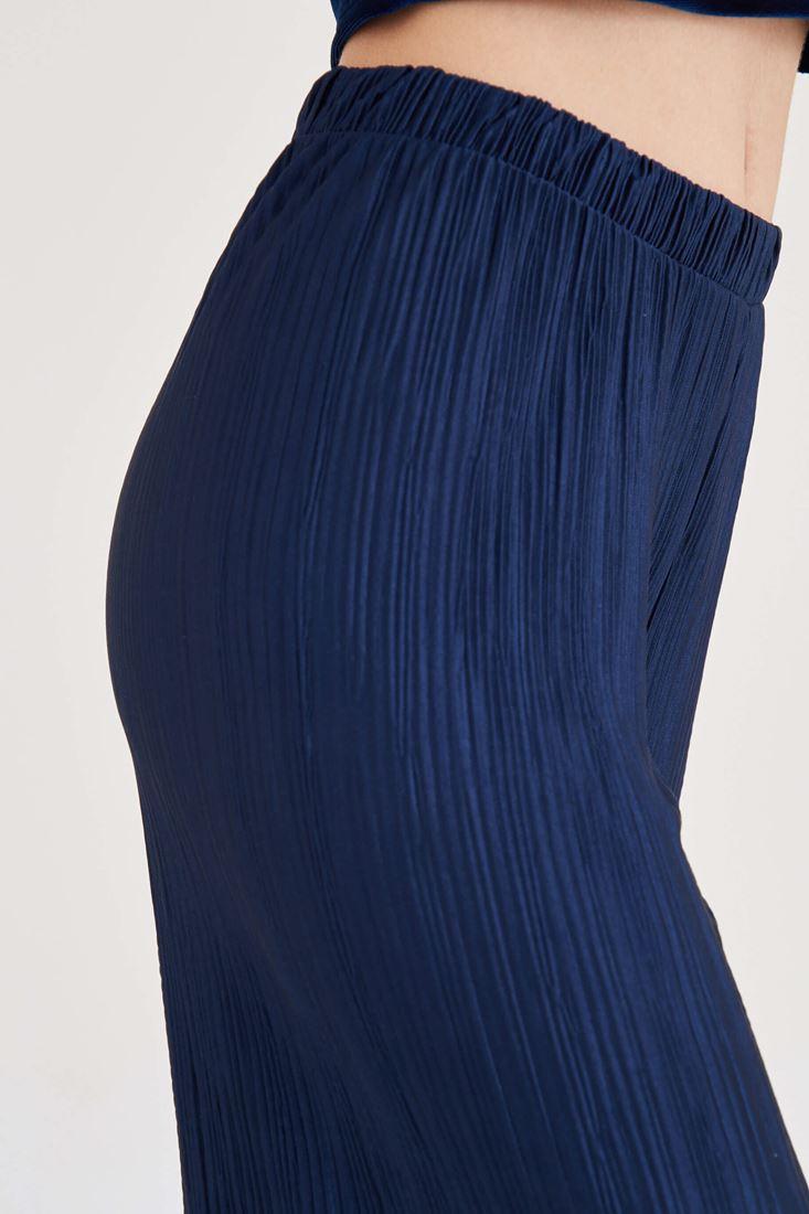 Bayan Lacivert Pileli Bol Pantolon