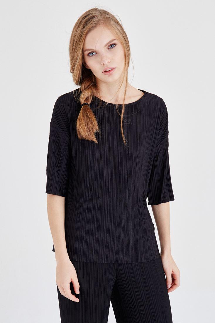 Bayan Siyah Pileli Bluz