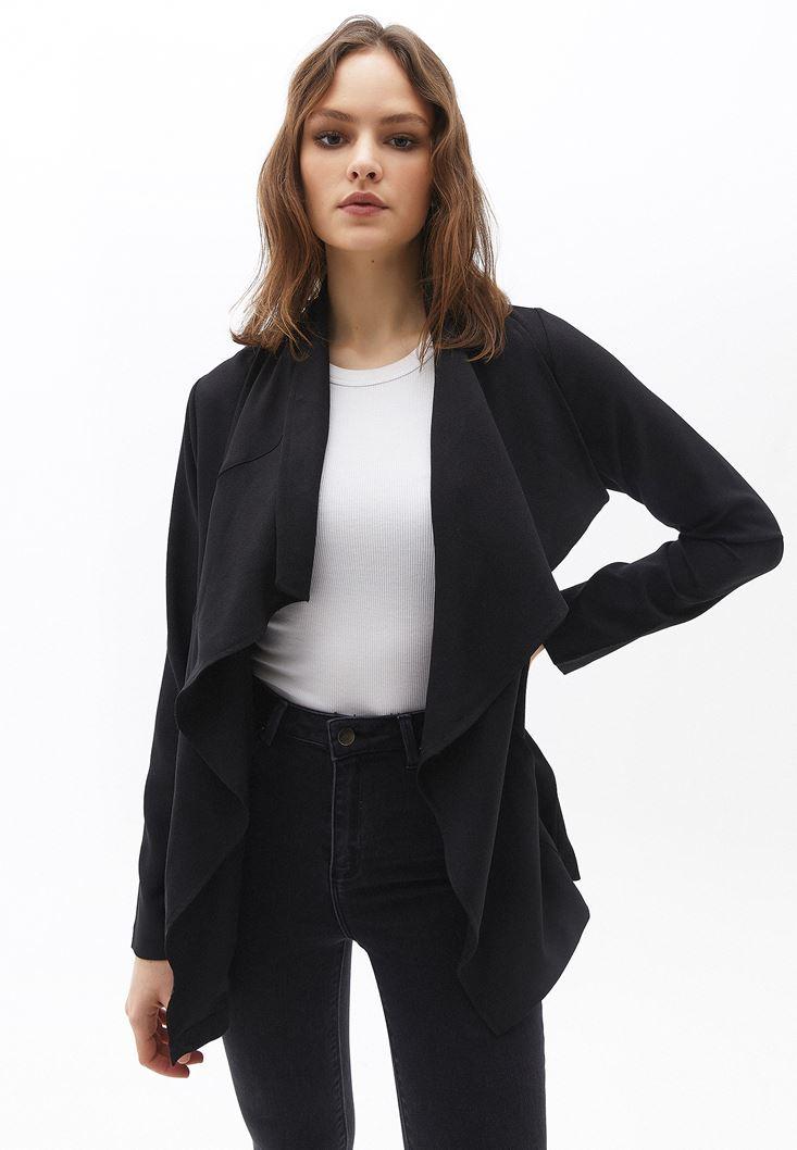 Bayan Siyah Şal Yaka Ceket