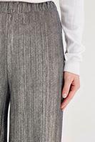 Bayan Gri Simli Pileli Pantolon
