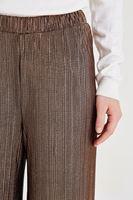 Bayan Kahverengi Simli Pileli Pantolon