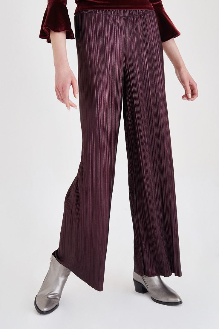 Bayan Bordo Simli Pileli Pantolon