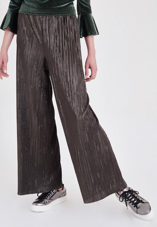 Yeşil Simli Pileli Pantolon