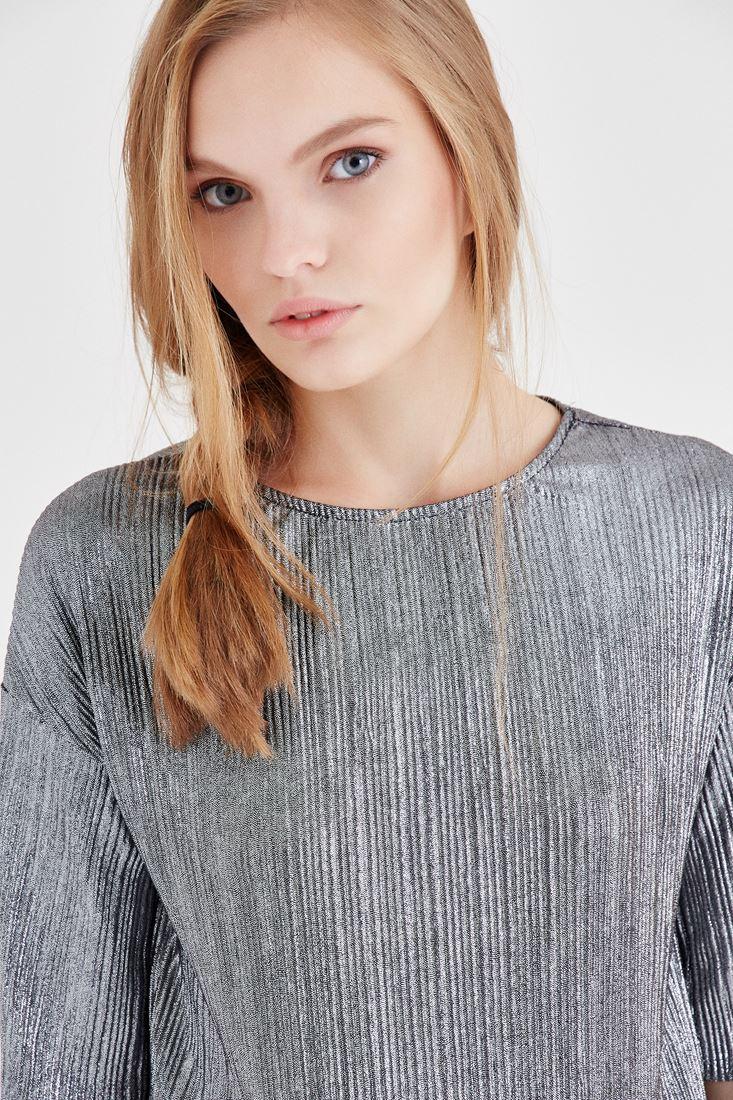 Bayan Gri Metalik Pileli Bluz