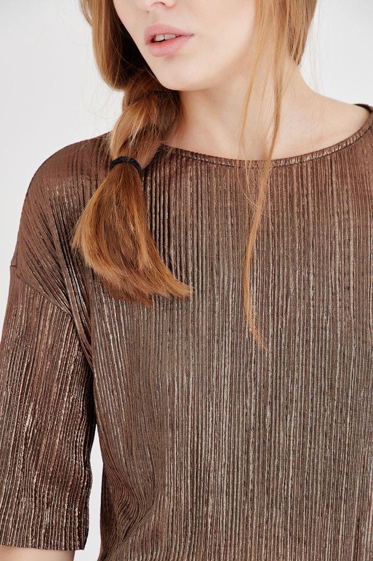 Bayan Kahverengi Metalik Pileli Bluz