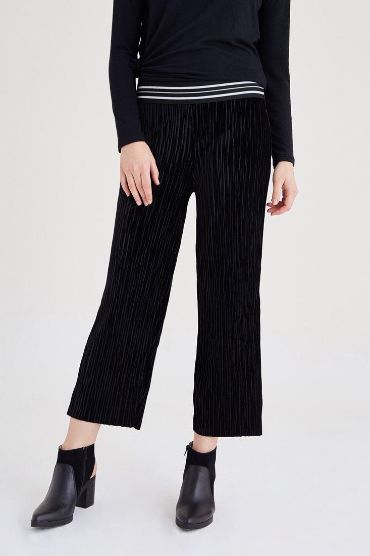 Siyah Kadife Pileli Pantolon