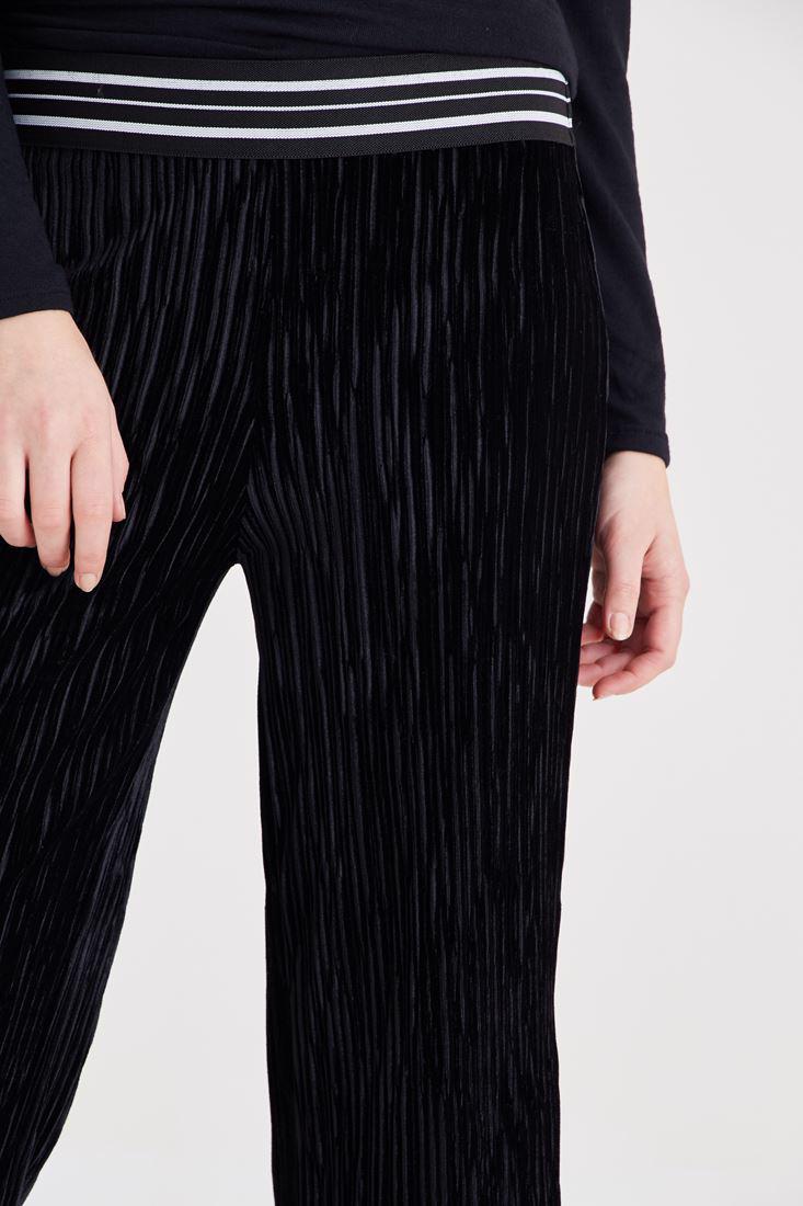 Bayan Siyah Kadife Pileli Pantolon