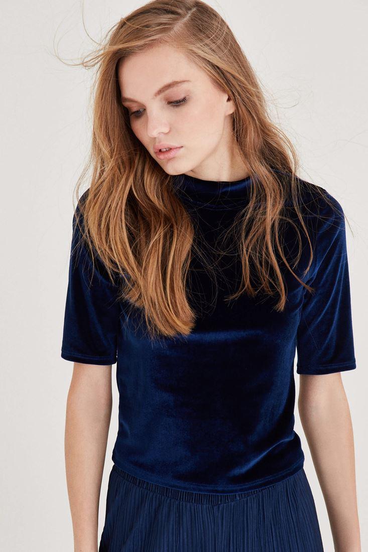 Bayan Lacivert Kadife Bluz