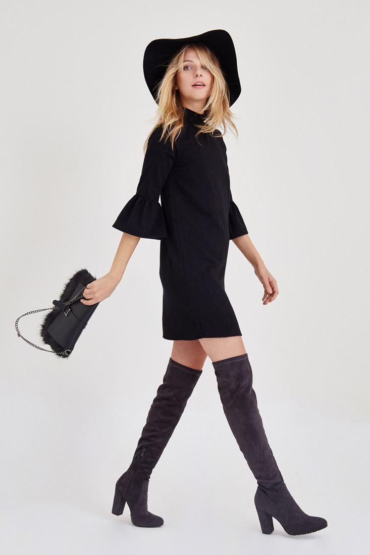 Siyah Kolları Volanlı Kısa Elbise