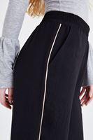 Bayan Siyah Yanları Şeritli Bol Kesim Pantolon