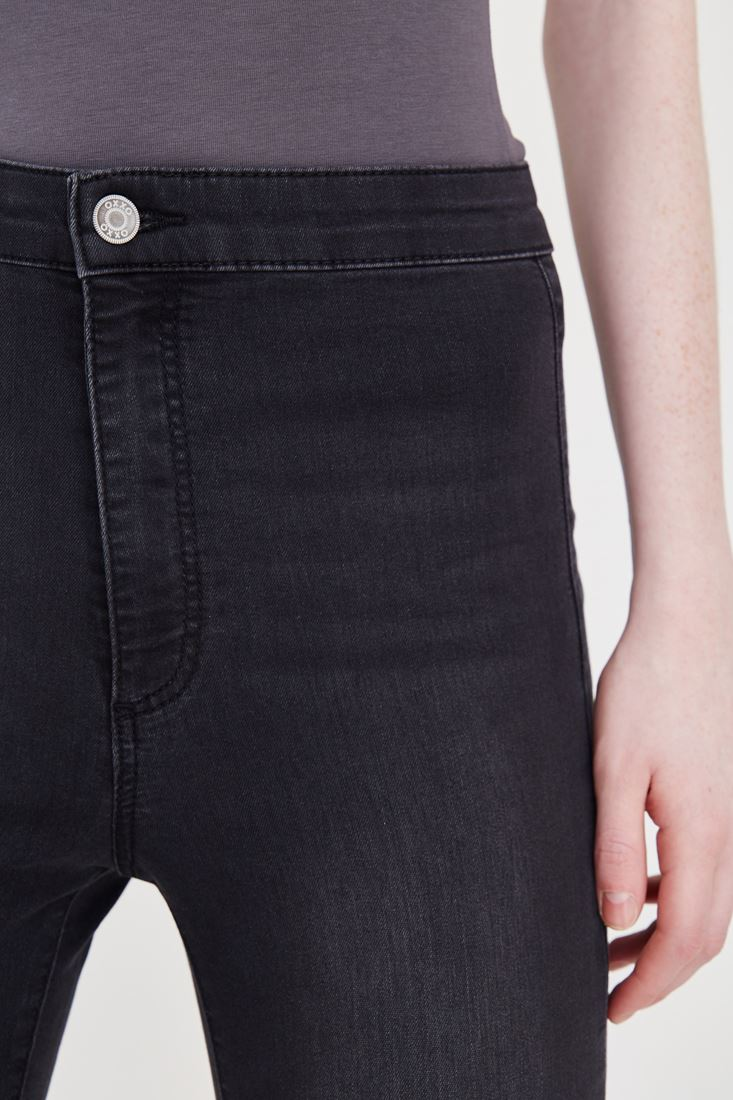 Bayan Gri Yüksek Bel Kot Pantolon
