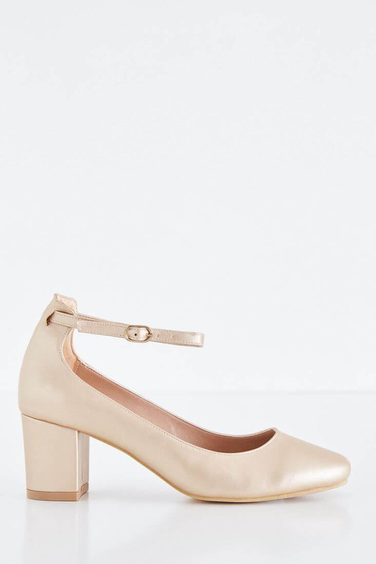 Altın Kalın Topuklu Ayakkabı