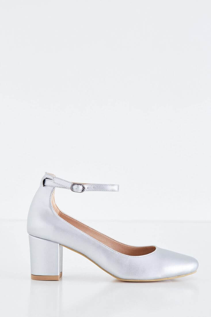 Gri Kalın Topuklu Ayakkabı