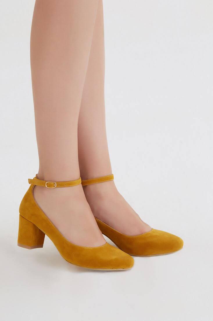 Bayan Sarı Kalın Topuklu Ayakkabı