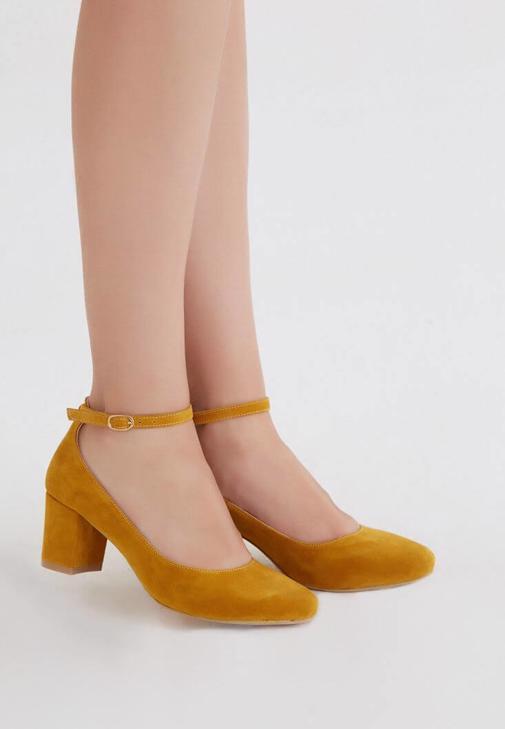 Sarı Kalın Topuklu Ayakkabı