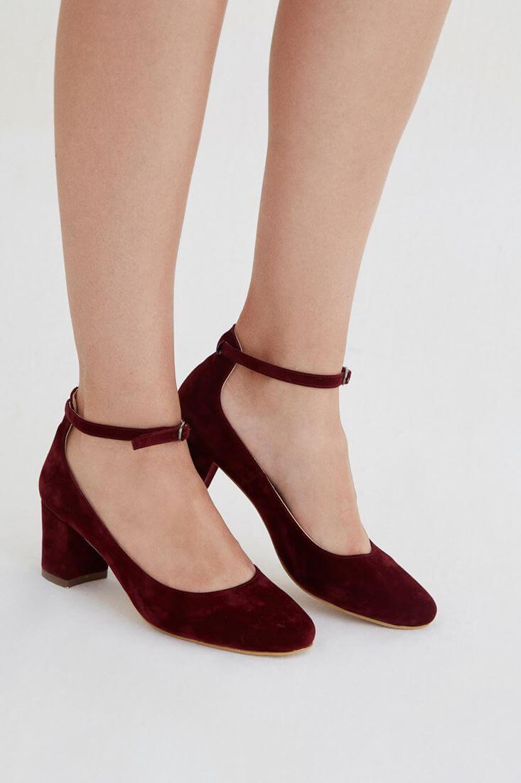 Bayan Bordo Kalın Topuklu Ayakkabı