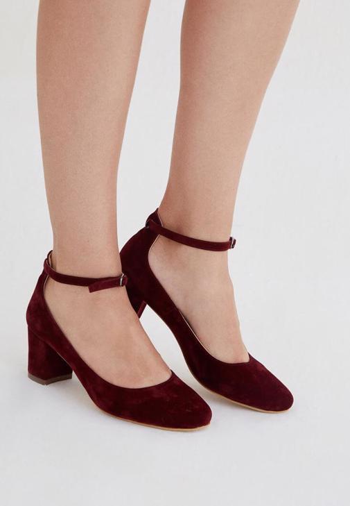 Bordo Kalın Topuklu Ayakkabı