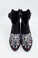 Bayan Siyah Çiçek Nakışlı Bot
