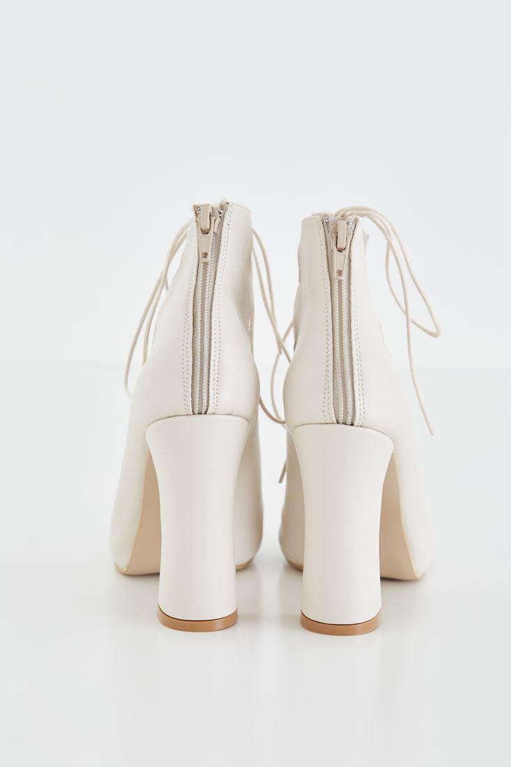 Bayan Krem Bağcıklı Topuklu Ayakkabı